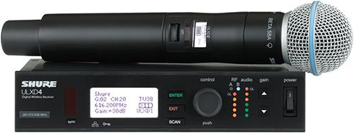 Shure ULXD24/B58 : Bộ thu kỹ thuật số và bộ phát đôi kèm micro không dây cầm tay
