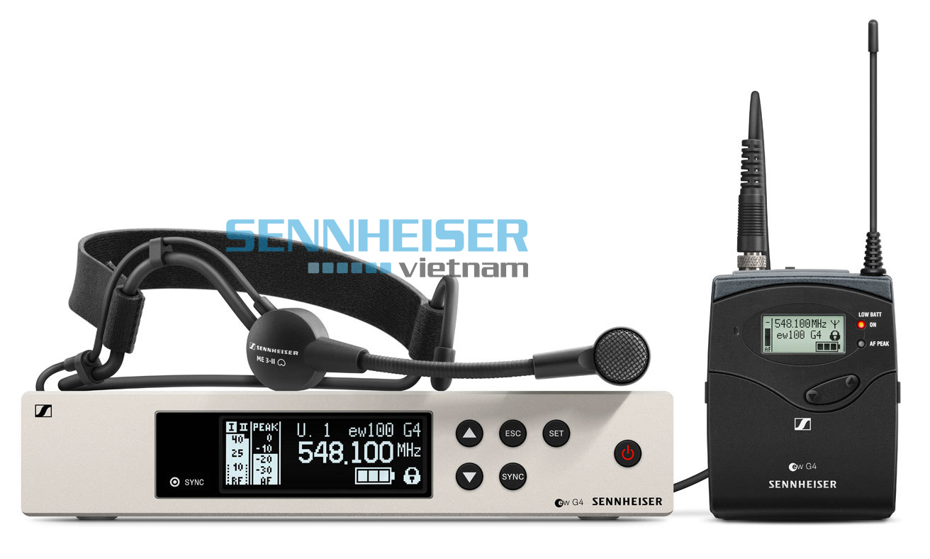 Bộ micro cài đầu Sennheiser EW-100-G4-ME3-B