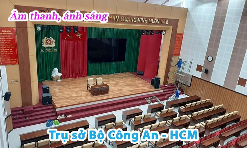 Thi công hệ thống âm thanh ánh sáng sân khấu hội trường đa năng tại: trụ sở Bộ Công An HCM